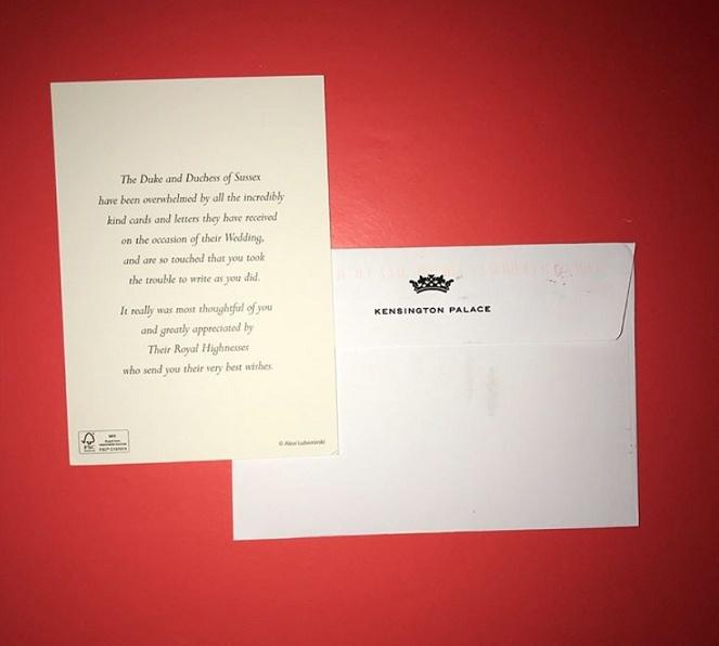 biglietto di ringraziamento matrimonio Harry e Meghan principi del Wessex