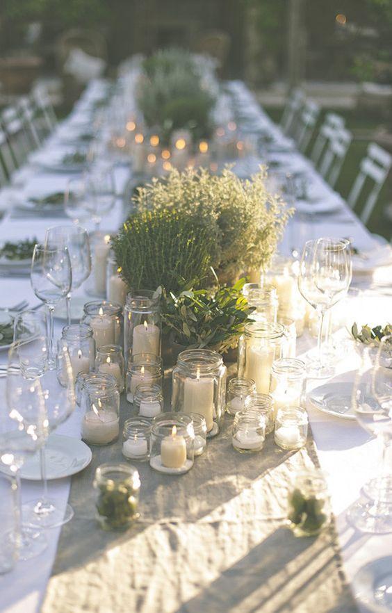 allestimento tavola matrimonio con erbe aromatiche