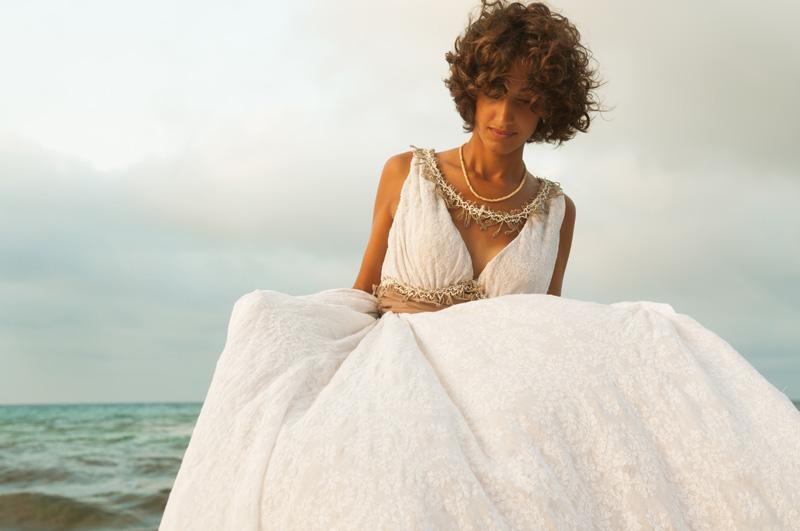 abito da sposa etico equosolidale in cotone con fascia in vita marrone